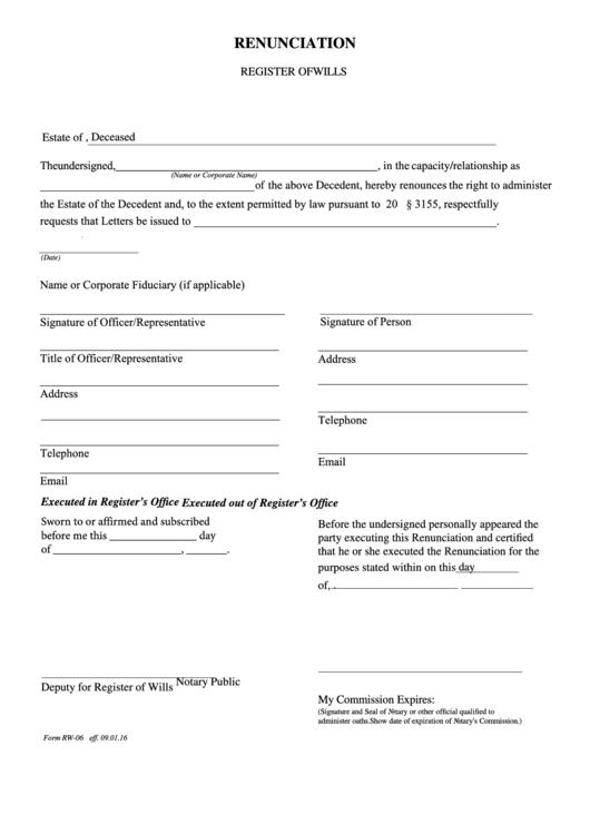form rw 06 renunciation register of wills