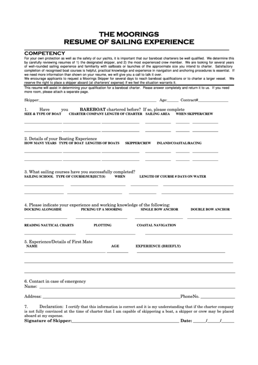 sailing experience resume printable pdf download