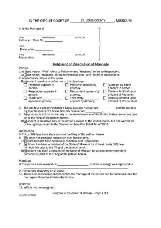 Fillable Form Ccfc187 - Judgment For Dissolution Of Marriage Printable pdf