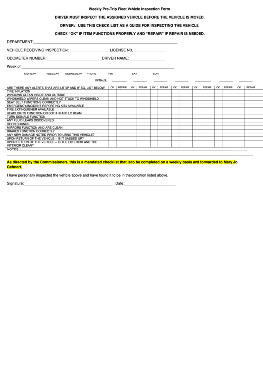Weekly Pre-trip Fleet Vehicle Inspection Form