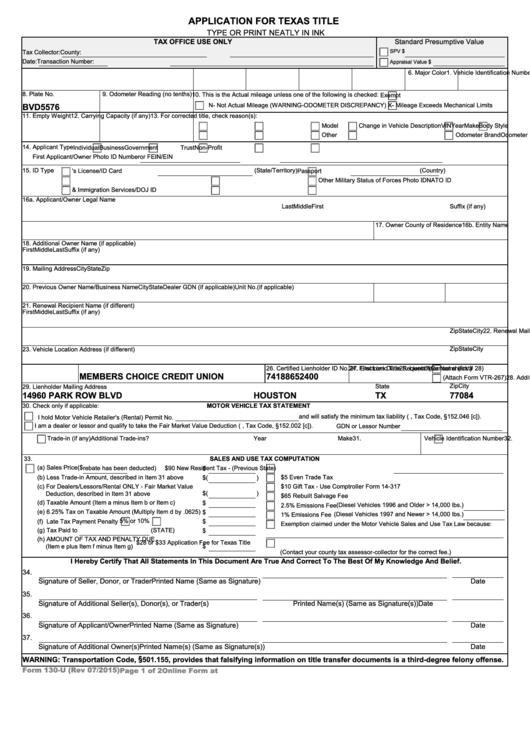 Form 130-u - Application For Texas Title