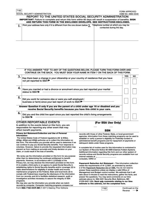 Fillable Ssa 7162 Us Embassy Warsaw Printable Pdf Download