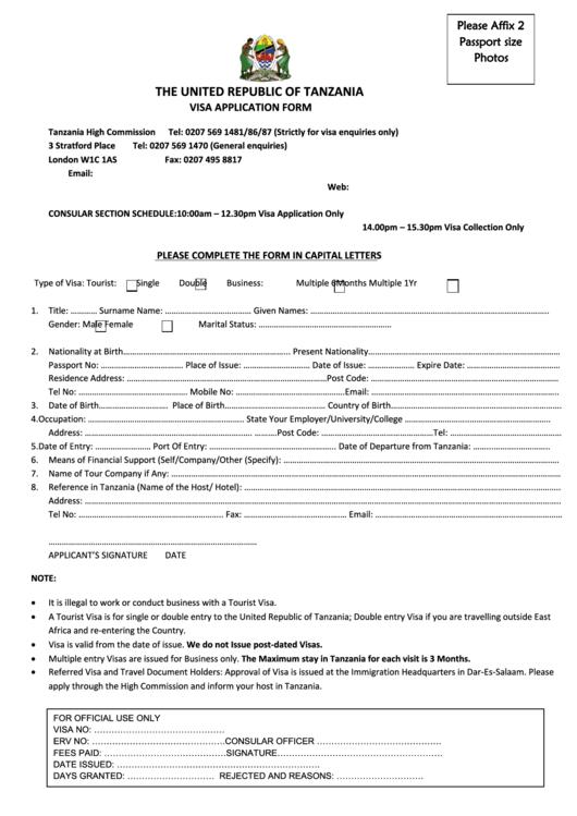 page_1_thumb_big Tanzania Visa Application Form on b1 b2, ds-260 immigrant, italy schengen,