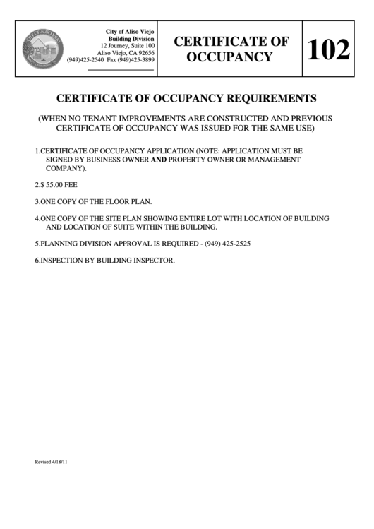 Certificate Of Occupancy Form