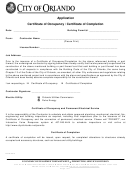 Application - Certificate Of Occupancy / Certificate Of Completion