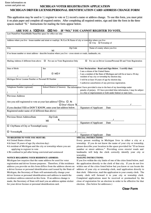 Michigan Voter Registration Application, Michigan Driver License/personal Identification Card Address Change Form
