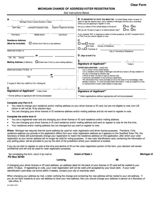Ed-109w - Michigan Change Of Address/voter Registration