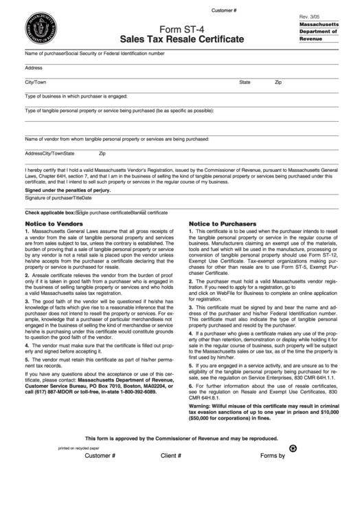 certificate resale tax form sales pdf st printable