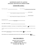 Superior Court Of Justice Divorce Certificate Order Form