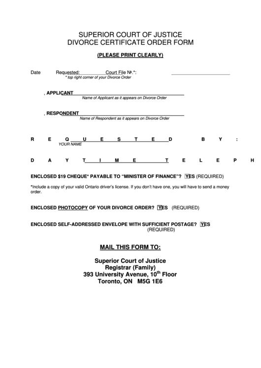 Superior Court Of Justice Divorce Certificate Order Form