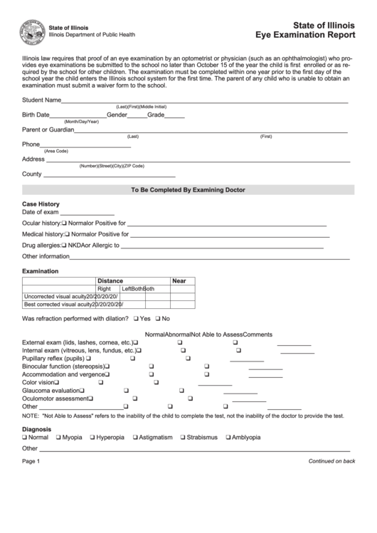 State of illinois eye examination report form printable for Ophthalmology exam template
