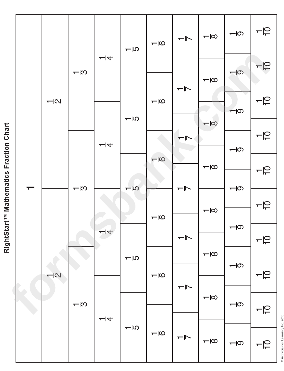 1/10 Fraction Grid Template With Labels