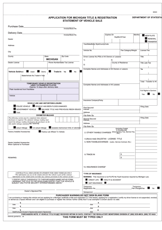 Rd-108 Application For Michigan Title & Registration printable pdf ...