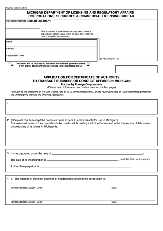 Fillable Form Cscl/cd-560 - Application For Certificate Of Authority To Transact Business Or Conduct Affairs In Michigan Printable pdf