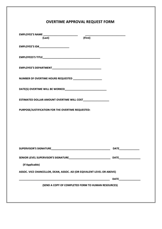 fillable overtime approval request form printable pdf download