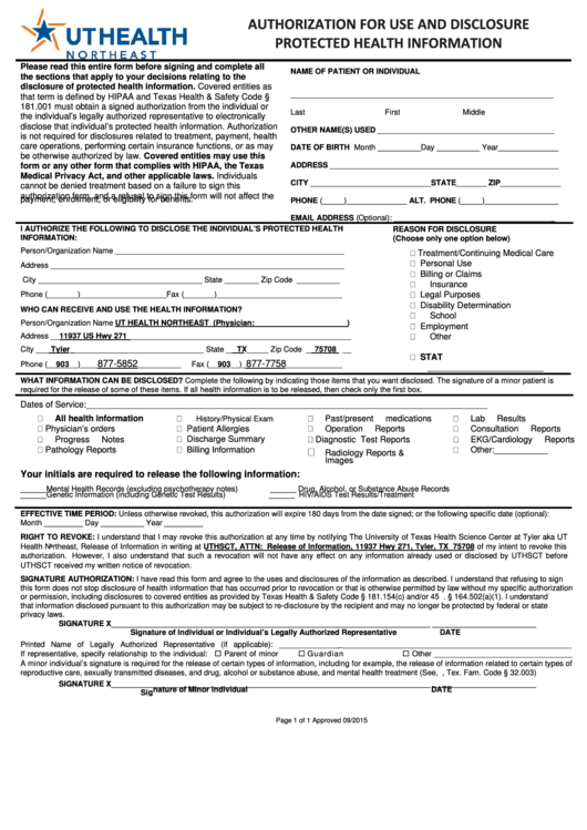 Authorization For Use And Disclosure Protected Health Information Form