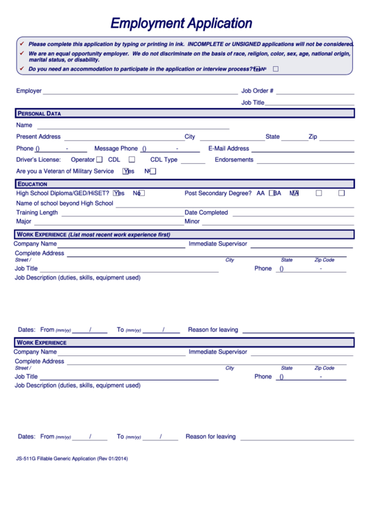 employment application form printable pdf download