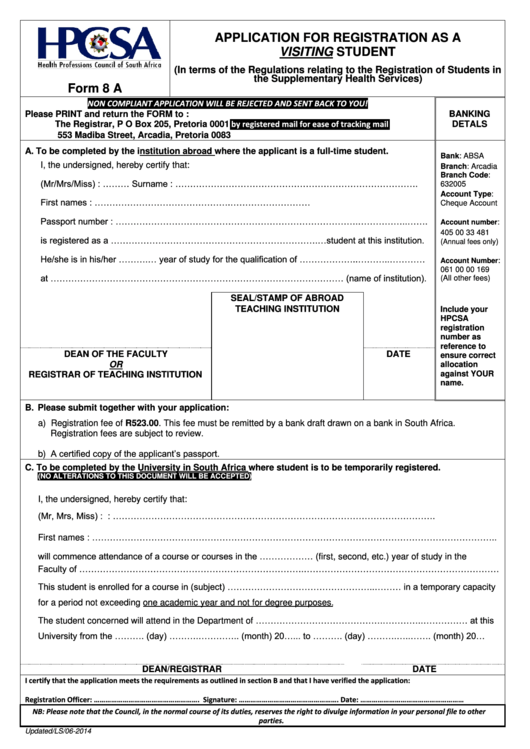 Form 8a - Application For Registration As A Visiting Student
