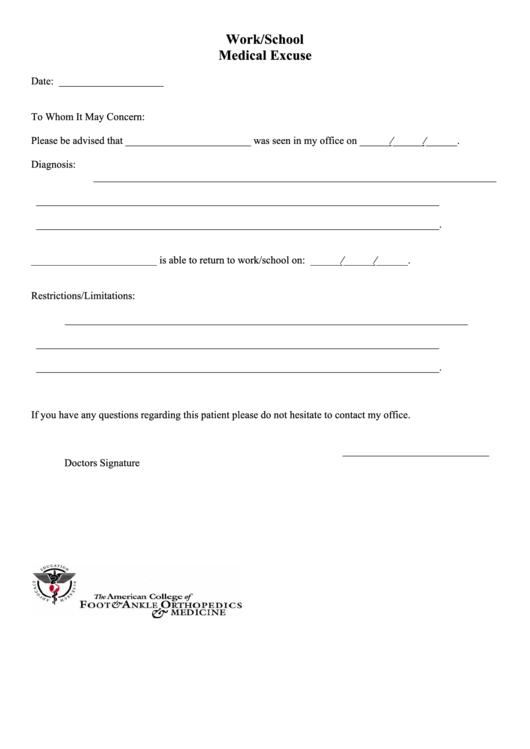 work  school medical excuse printable pdf download