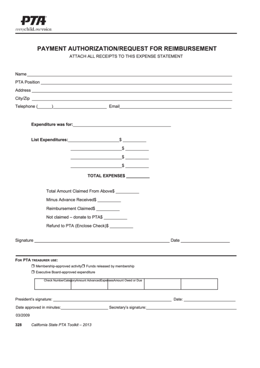 Pta Payment Authorization Request For Reimbursement Form
