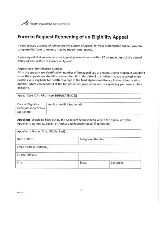 For To Request Reopening Of An Eligibility Appeal