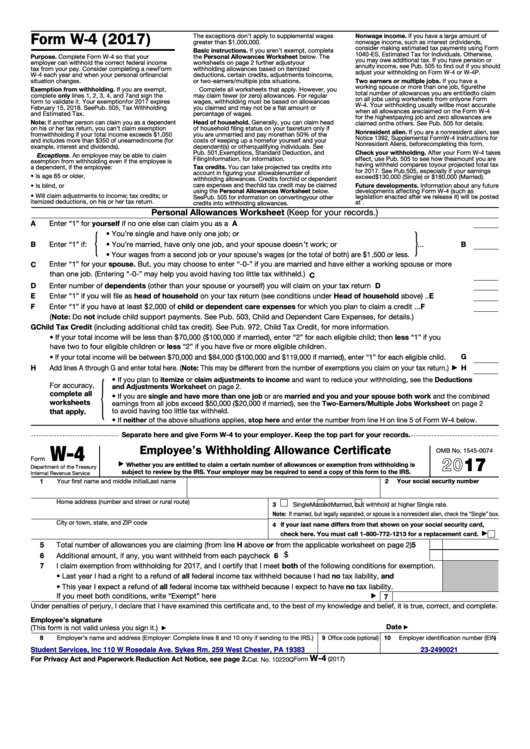 fillable form w 4 employee 39 s withholding allowance certificate 2017 printable pdf download. Black Bedroom Furniture Sets. Home Design Ideas