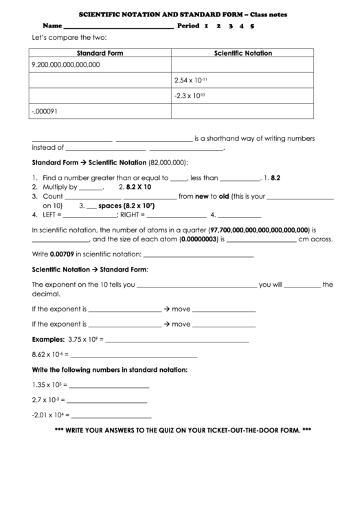Scientific Notation And Standard Form Math Worksheets Printable