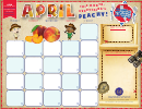 April Calendar Template - Everything's Peachy