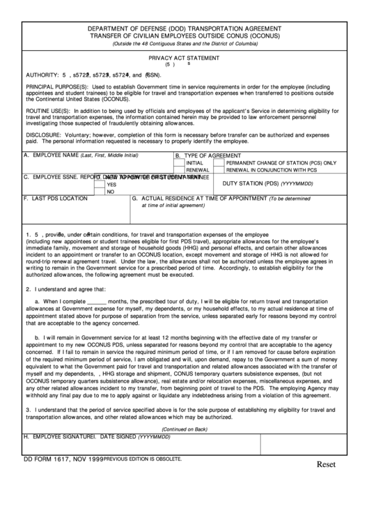 Dd Form 1617, Nov 1999 Department Of Defense (dod) Transportation ...