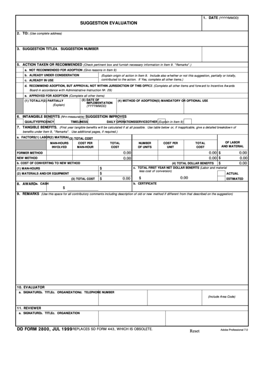 Fillable Dd Form 2800 - Suggestion Evaluation - 1999 Printable pdf