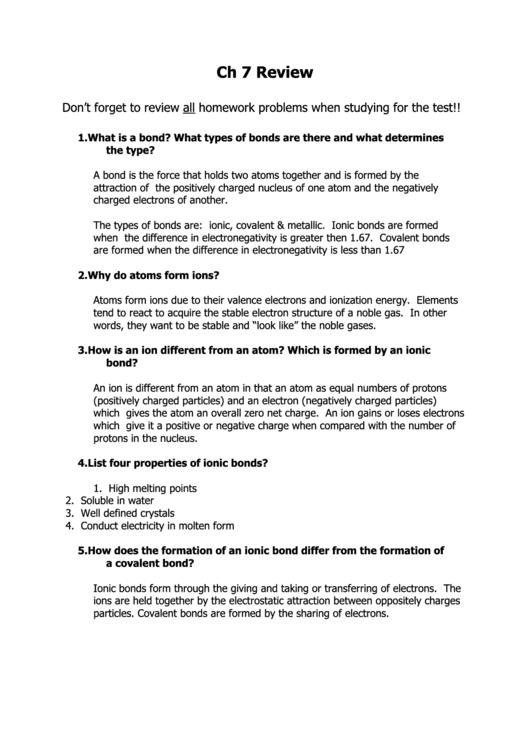 Chemical Bonds Review Worksheet Printable Pdf Download