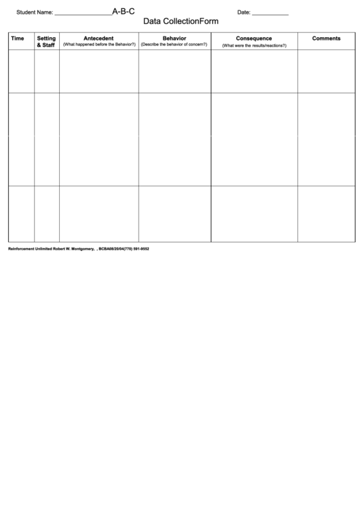 A-B-C Data Collection Form Printable pdf