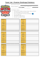 Team List Template - Premier Challenge Pokemon