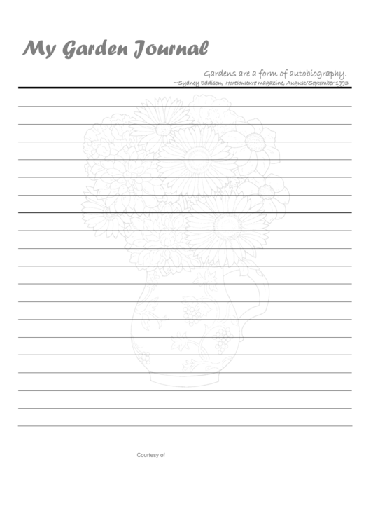 My Garden Journal Template printable pdf download