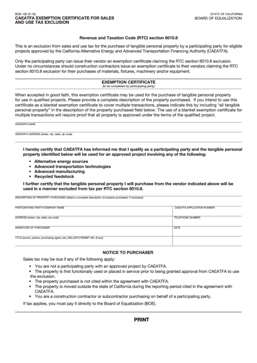 Fillable Caeatfa Exemption Certificate For Sales And Use Tax
