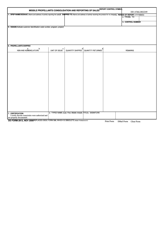Fillable Dd Form 2913 - Missile Propellants Consolidation And Reporting Of Sales Printable pdf