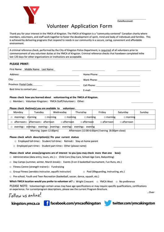 page_1_thumb_big Volunteer Application Form Printable on volunteer form example, volunteer evaluation form, classroom job application printable, waiver of liability form printable, community service log sheet printable, financial aid application printable, volunteer log form, contact form printable, practice job applications printable, volunteer request form, w 9 tax forms printable, volunteer information form, medical job application printable, registration form printable, volunteer hours form, generic employment applications printable, volunteer job application, family medical history form printable, calendar printable, medical release form printable,