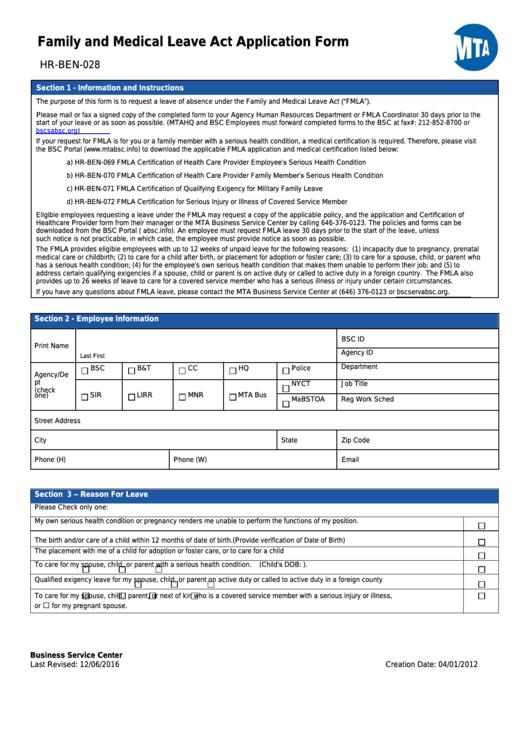 medical leave application form pdf