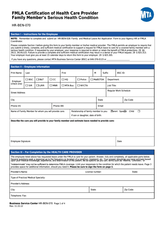 fmla certification health provider care mta member serious condition printable