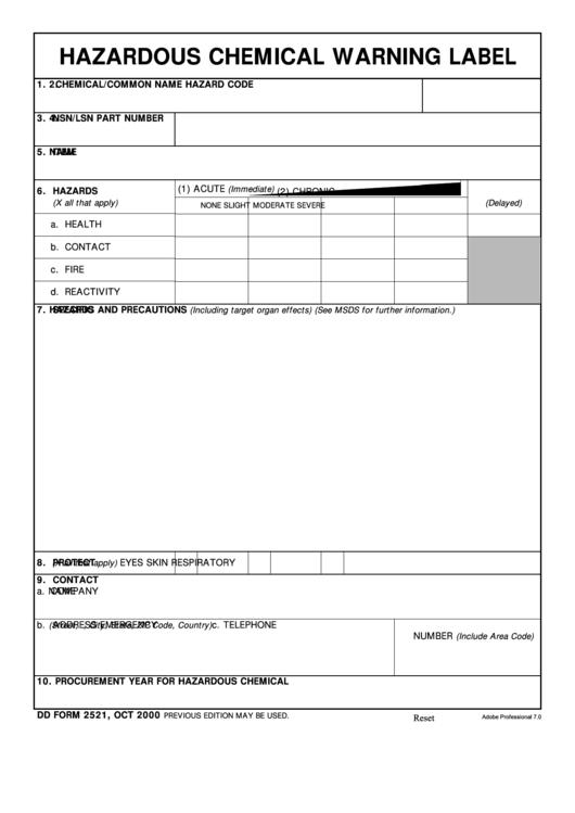 Dd Form 2521 - Hazardous Chemical Warning Label Printable pdf