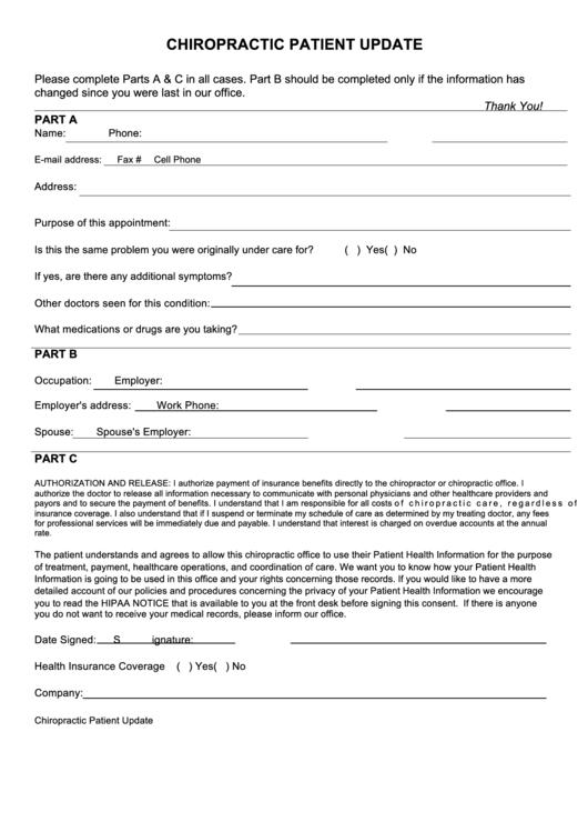 chiropractic patient update form printable pdf download