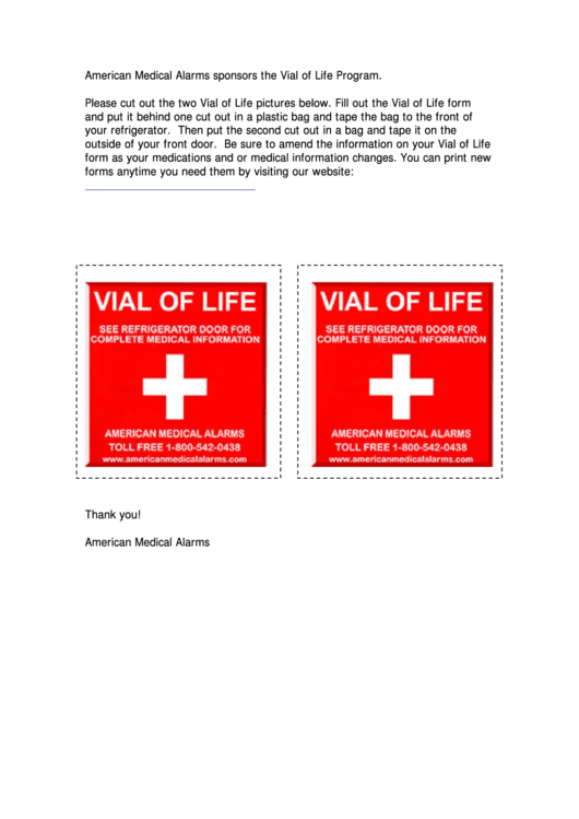 Vial Of Life Packet - Emergency Medical Information Worksheet