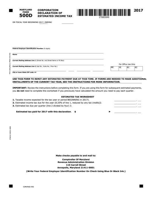 Form 500d - Corporation Declaration Of Estimated Income Tax
