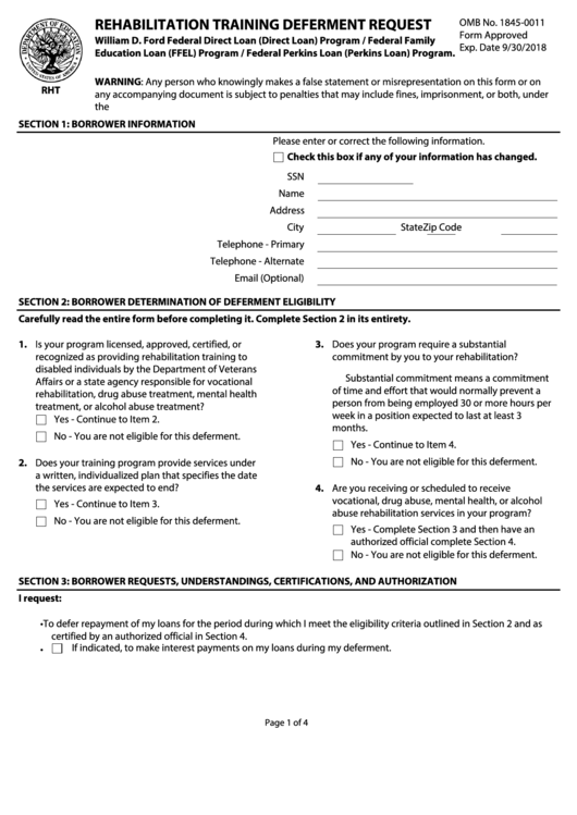 Rehabilitation Training Deferment Request Form