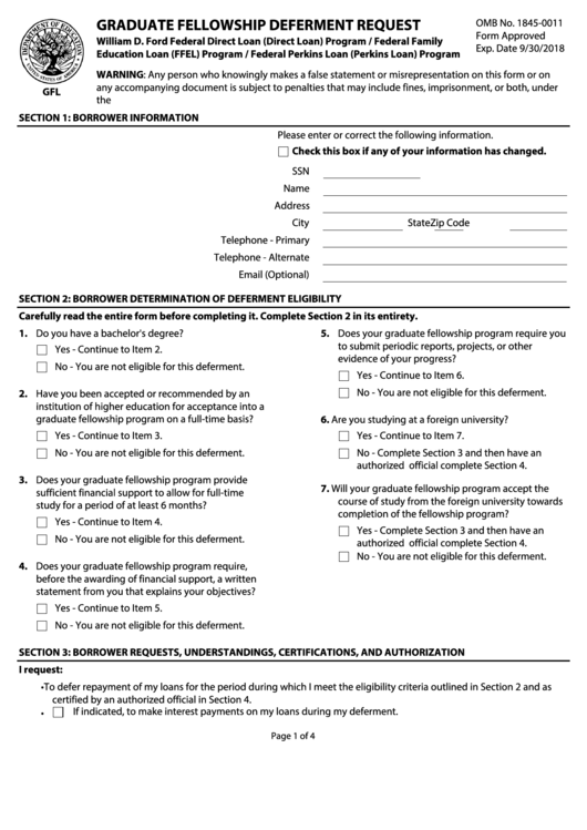 Graduate Fellowship Deferment Request Form