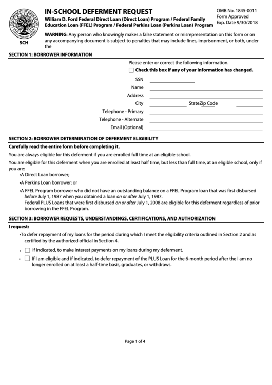 In-school Deferment Request Form