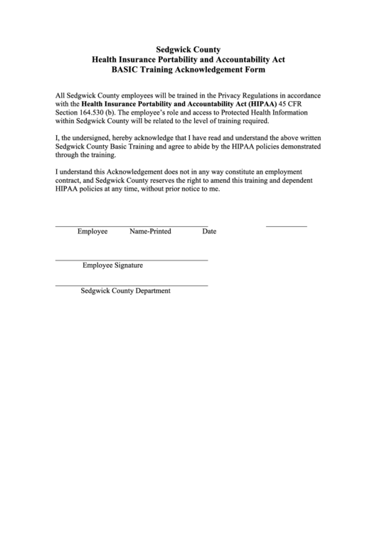 Hipaa basic training acknowledgement form printable pdf for Hipaa training certificate template