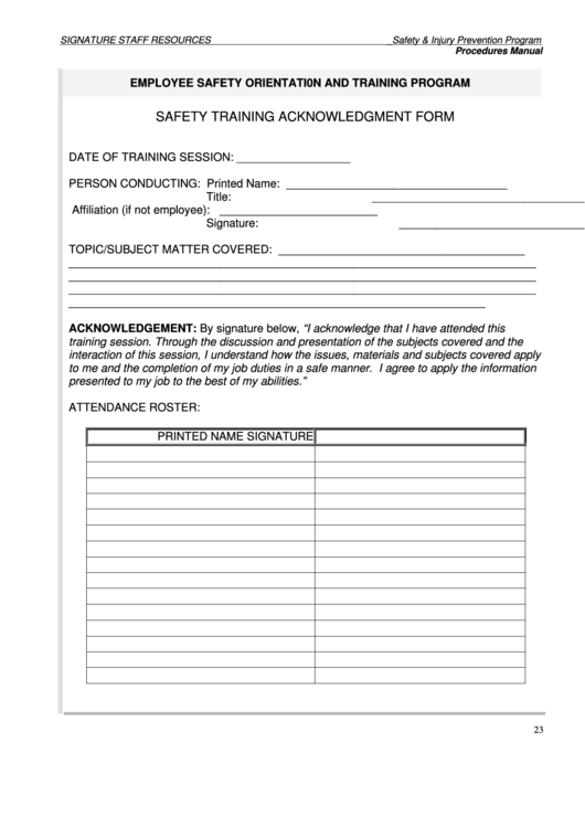 safety training acknowledgment form printable pdf download
