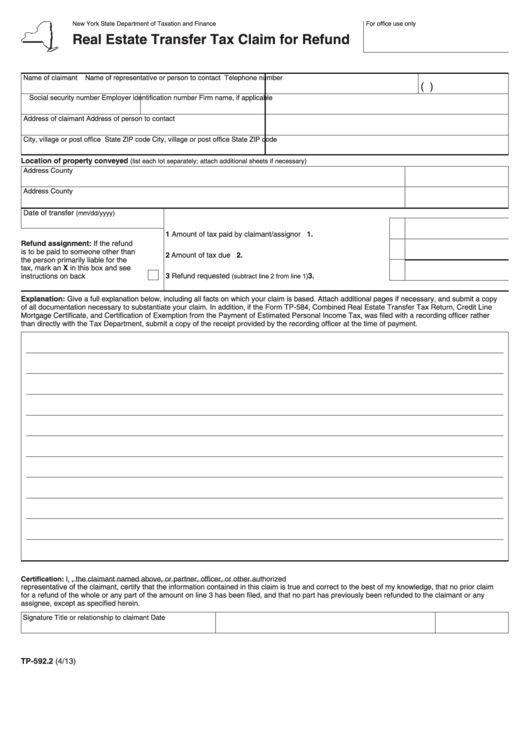 Real Estate Transfer Tax Claim For Refund Printable pdf