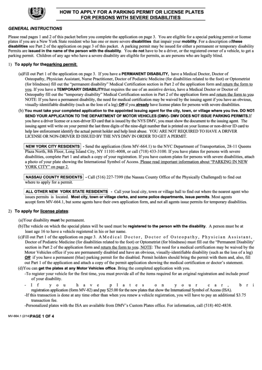 Application For Handicap Parking Permit Printable pdf